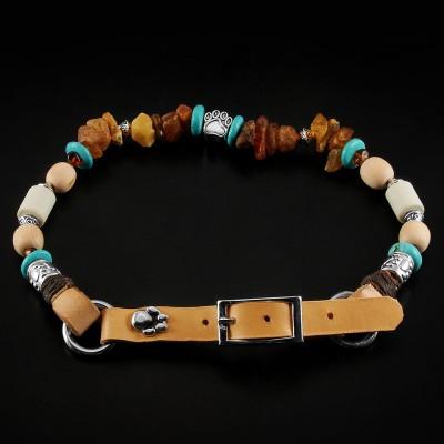 Bernsteinkette mit Zirbenholz, EM-Keramik und Lederschnalle, Handgefertigt